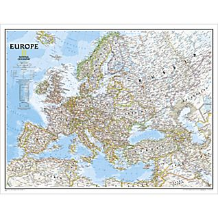 Europe Executive Wall Map, Enlarged and Laminated