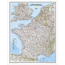 France, Belgium and the Netherlands Political Wall Map, Laminated