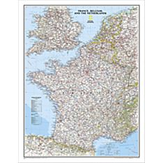 France, Belgium and the Netherlands Political Map, Laminated