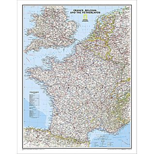 View France, Belgium and the Netherlands Political Map, Laminated image