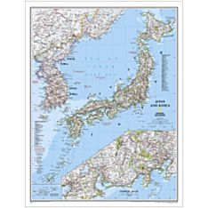 Japan and Korea Political Wall Map, Laminated