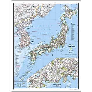 View Japan and Korea Political Map, Laminated image
