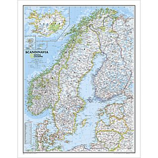 Scandinavia Classic Wall Map, Laminated