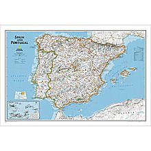 Spain and Portugal Political Wall Map, Laminated
