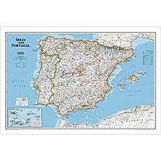 Spain and Portugal Political Map, Laminated