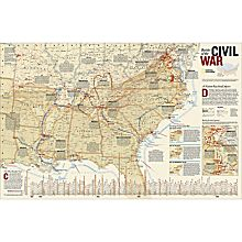 Civil War Battles Map, Laminated
