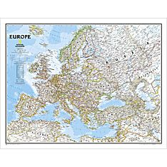 Europe Political Wall Map, Enlarged and Laminated