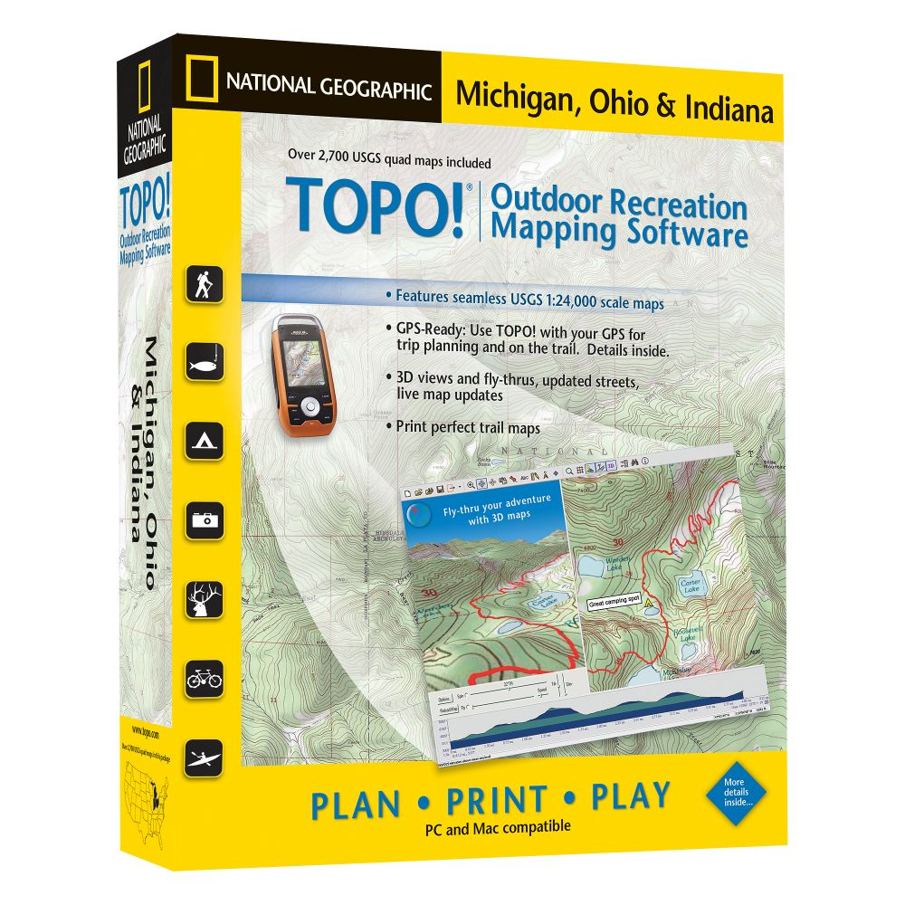 National Geographic TOPO! Michigan, Ohio & Indiana CD-ROM