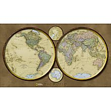 World Hemispheres Wall Map