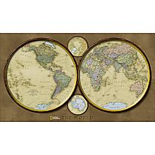 World Hemispheres Wall Map, Laminated
