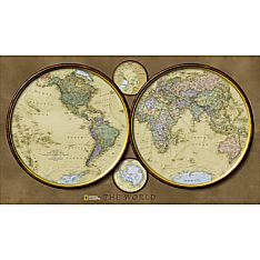 World Hemispheres Map, Laminated
