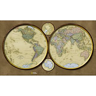 View World Hemispheres Map, Laminated image