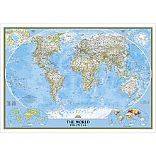 Framed World Political Map Gold