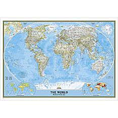 World Map Framed in Gold for Wall