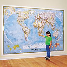World Mural Wall Map, Blue Ocean