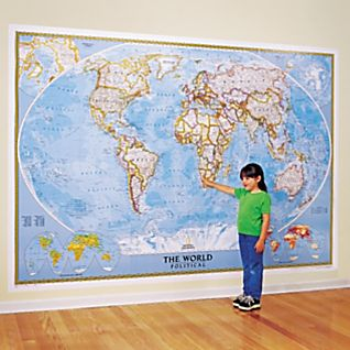 View World Mural Map, Blue Ocean image