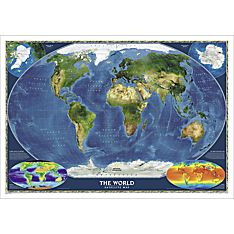 World Satellite Wall Map, Laminated