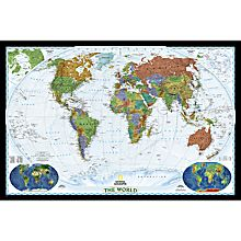 World Political Map (Bright-Colored), Enlarged and Mounted, 2007