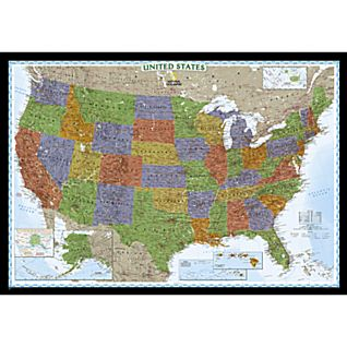 U.S. Political Map (Bright-colored), Laminated