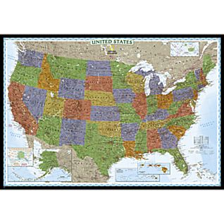 United States Decorator Wall Map, Enlarged and Laminated