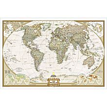World Political Map (Earth-toned), Enlarged and Mounted