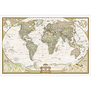 View World Political Map (Earth-toned), Enlarged and Mounted image