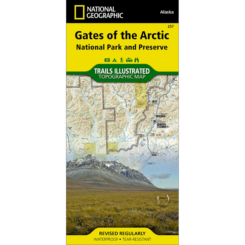 photo: National Geographic Gates of the Arctic National Park & Preserve Trail Map  us pacific states paper map