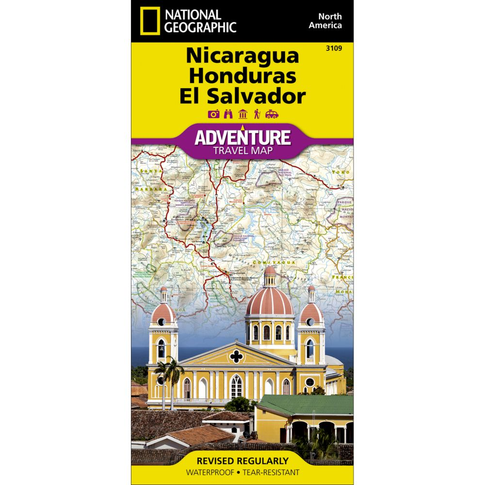 National Geographic El Salvador, Nicaragua, and Honduras Adventure Map