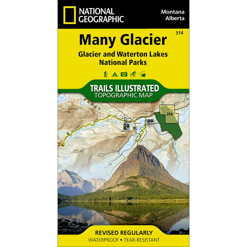 photo: National Geographic Many Glacier Trail Map - Glacier National Park