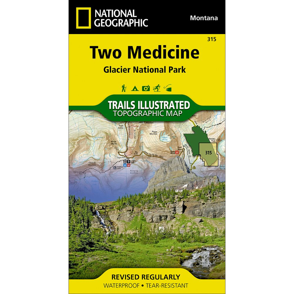 photo: National Geographic Two Medicine Trail Map - Glacier National Park us mountain states paper map