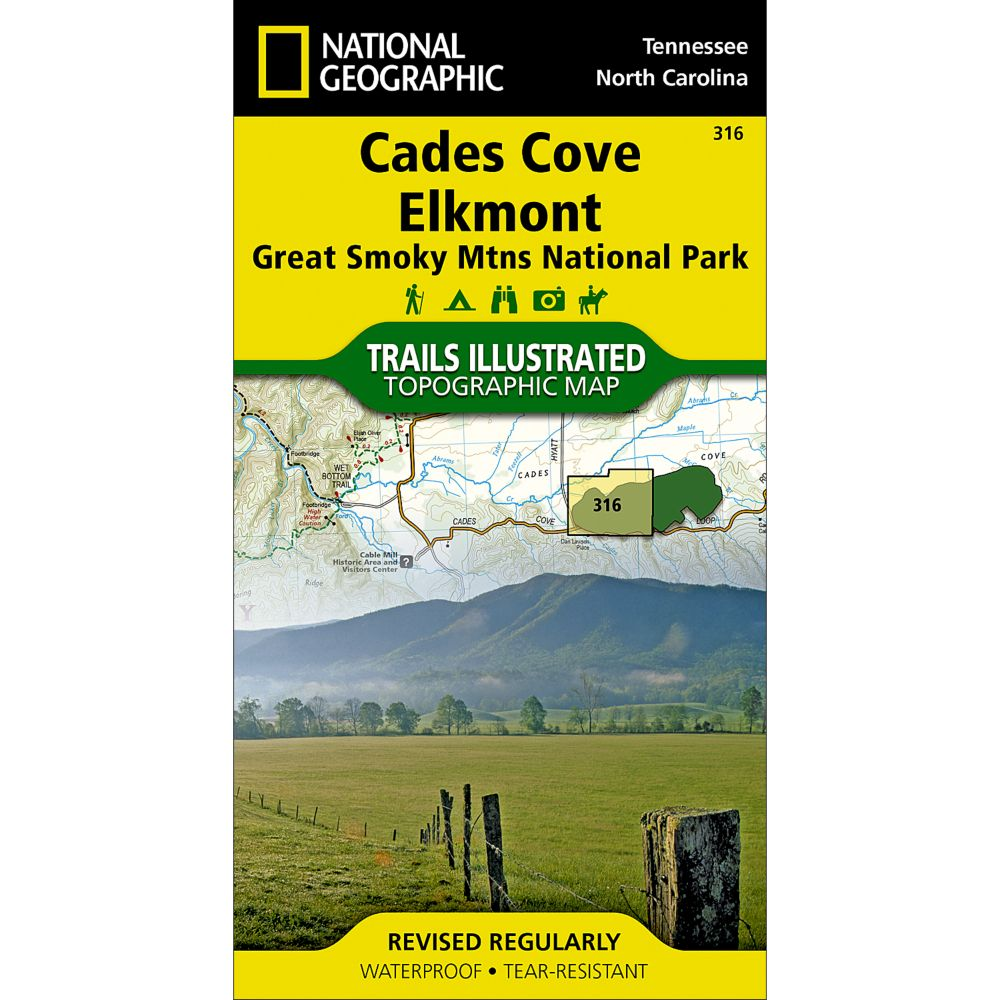 photo: National Geographic Cades Cove/Elkmont Trail Map - Great Smoky Mountains National Park us south paper map