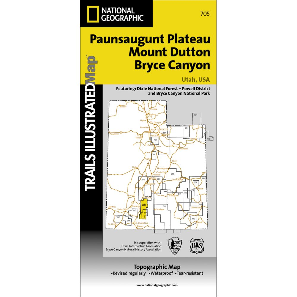 photo: National Geographic Paunsaugunt Plateau/Mount Dutton/Bryce Canyon Trail Map us mountain states paper map