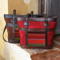 Tapestry Handbags - Bolivian Tapestry Suede Tote