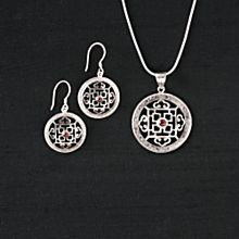 Silver and Garnet Mandala Earrings
