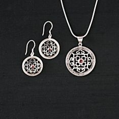 Hand-Crafted Silver and Garnet Mandala Earrings