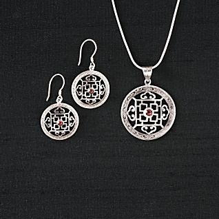 View Silver and Garnet Mandala Earrings image
