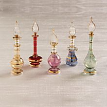 Gold Miniature Egyptian Glass Perfume Bottle Set