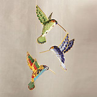 Cloisonné Hummingbird Ornament Set