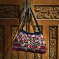 Tapestry Handbags - Guatemalan Floral Tapestry Bag