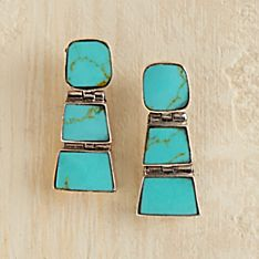 Hand-Crafted Chilean Turquoise Earrings