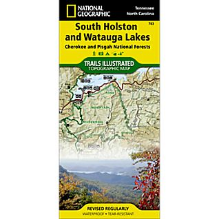 photo: National Geographic South Holston/Watauga Lakes Map - Cherokee and Pisgah National Forests us south paper map