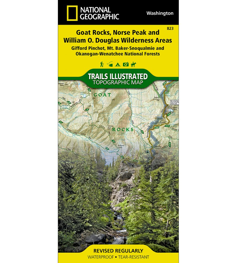 photo: National Geographic Goat Rocks, Norse Peak, & William O. Douglas Wilderness Areas Map us pacific states paper map