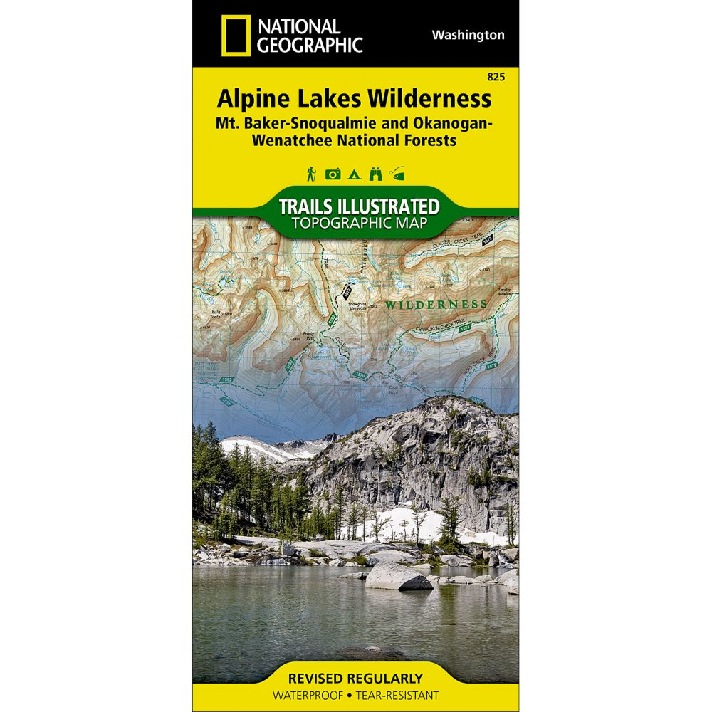 photo: National Geographic Alpine Lakes Wilderness Area Trails Map us pacific states paper map