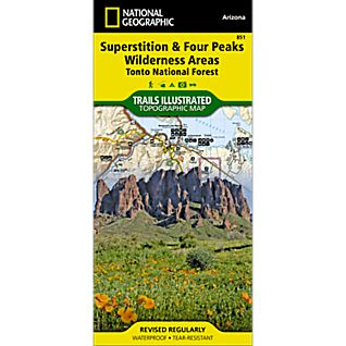 View 851 Superstition and Four Peaks Wilderness Areas Trail Map image