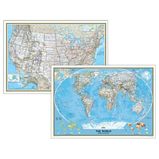 Poster-sized World and U.S. Combination Map Set (Classic)