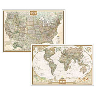 Poster-sized World and U.S. Combination Map Set (Earth-toned)