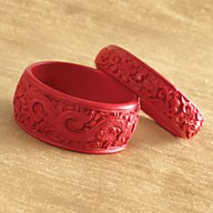 Carved Chinese Cinnabar Bangles