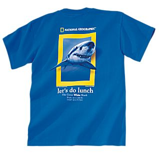 Let's Do Lunch Shark Adult Blue T-Shirt