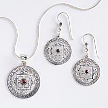 Silver & Garnet Mandala Earrings and Necklace