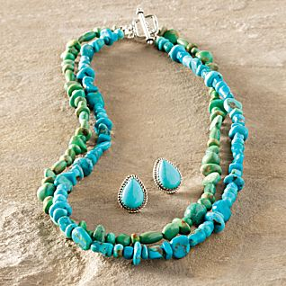 Navajo Turquoise Necklace and Earrings